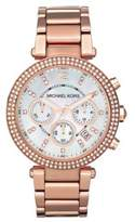 Michael Kors Parker Pave Mother-Of-Pearl & Rose Goldtone Stainless Steel Chronograph Bracelet Watch
