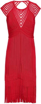 Herve Leger Fringe Tulle-paneled Cutout Bandage Dress