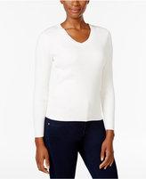 Karen Scott Petite V-Neck Sweater, Only at Macy's