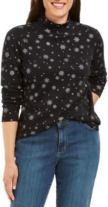 Karen Scott Petite Snowflake-Print Cotton-Blend Top