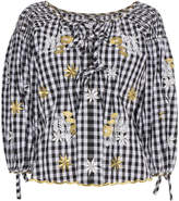Innika Choo Floral Embroidered Gingham Bell Sleeve Top