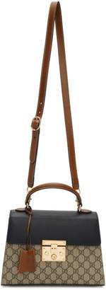 Gucci Brown Small GG Supreme Padlock Bag