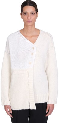 Maison Flaneur Cardigan In White Wool