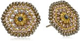 Miguel Ases Blush Swarovski Center Hexagon Stud Earrings