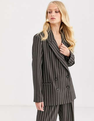 Asos Design DESIGN oversized dad suit blazer in pinstripe-Multi
