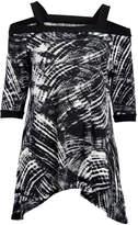 Neelam Fashions Women's Tunics BLACK - Black & White Abstract Cutout Three-Quarter Sleeve Sidetail Tunic - Women & Plus