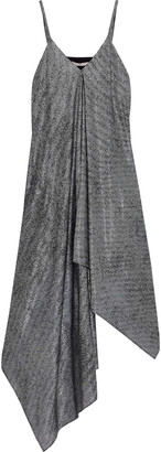 Christopher Kane Asymmetric Draped Metallic Mesh Midi Dress