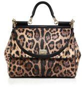 Dolce & Gabbana Sicily Large Leopard-Print Textured Leather Top-Handle Satchel