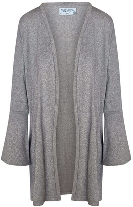 Haris Cotton Silver Jersey Knit Belted Cardigan