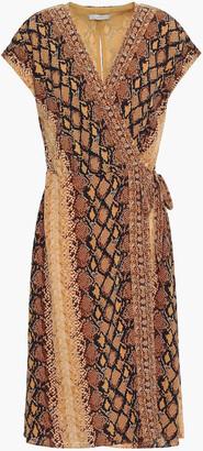 Joie Bethwyn C Snake-print Crepe De Chine Wrap Dress