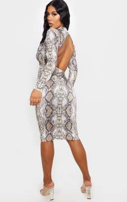 PrettyLittleThing Brown Snake Print Slinky Long Sleeve Back Cut Out Midi Dress