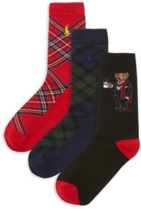Ralph Lauren Little Boy's & Boy's 3-Pack Tartan Bear Crew Socks