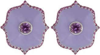 Bayco Small Purple Ceramic Lotus Earrings