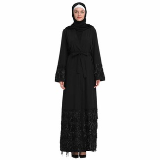 iHAZA Women Floral Printed Long Dress Robe Open Abaya Cardigans Muslim Dubai Robe Gown Long Cardigan Black