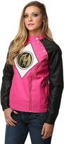 Mighty Fine womens Power Rangers Pink Ranger Juniors Moto Jacket