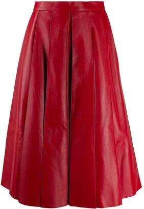 Alexander McQueen Pleated Leather Midi Skirt