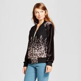 A New Day Women's Floral Velvet Bomber Jacket - A New Day Black