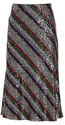 Milly Women's Rainbow Multistripe Sequins Bias Skirt