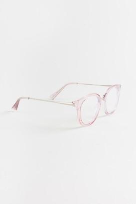 francesca's Hannah Round Blue Light Sunglasses - Pink