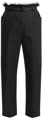 Isa Arfen Gathered-waist Cropped Cotton-blend Trousers - Womens - Navy