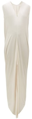 Rick Owens Draped V-neck Crepe Maxi Dress - Womens - Pearl