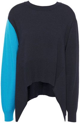 Cédric Charlier Asymmetric Two-tone Wool Sweater