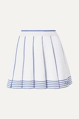 Adam Selman Pleated Striped Knitted Mini Skirt - White