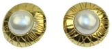Chanel Gold Tone Metal & Pearl Roman Numerals Earrings