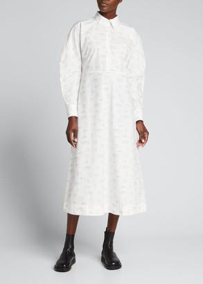 Ganni Printed Poplin Midi Shirtdress