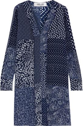 Diane von Furstenberg Reid Patchwork Printed Silk Crepe De Chine Mini Dress