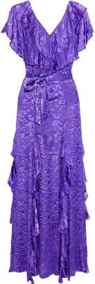 Alice + Olivia Tessa Ruffled Fil Coupe Chiffon Maxi Dress