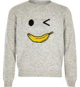 River Island Girls grey knit banana man sweater