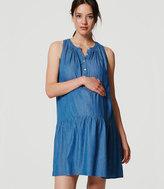 LOFT Petite Maternity Chambray Drop Waist Dress