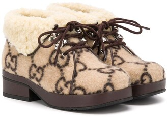 Gucci Kids GG lace-up boots