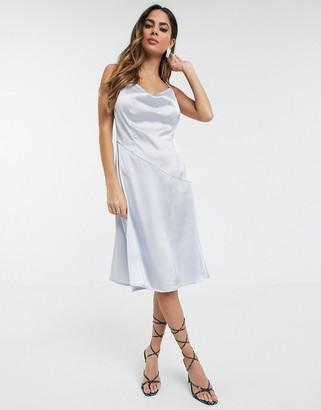 UNIQUE21 cowl neck slip dress in light blue