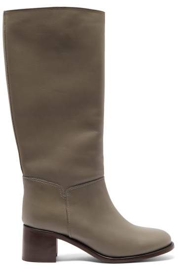 0603e94dde9 Iris Leather Knee High Boots - Womens - Grey