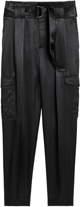 Banana Republic High-Rise Tapered Satin Cargo Pant