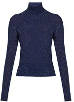 Altuzarra Bryan Glitter Ribbed-knit Top - Womens - Navy