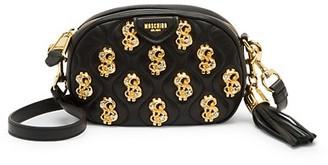 Moschino Dollar Sign Embellished Leather Crossbody Bag