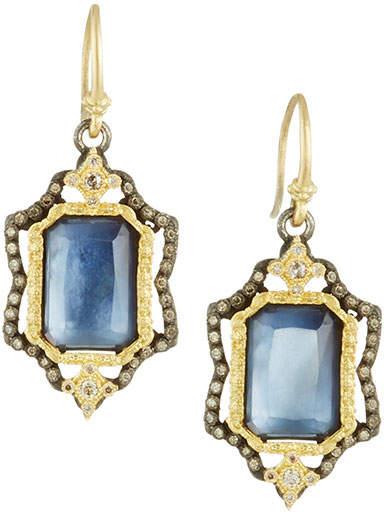Armenta Emerald-Cut Triplet Drop Earrings w/ 18k Gold