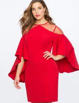 ELOQUII Drama Sleeve Dress with Sheer Detail