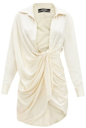 Jacquemus Bahia Plunge-neck Knotted Twill Mini Dress - Cream
