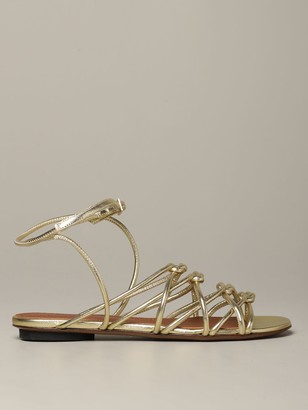 L'Autre Chose Flat Sandal In Laminated Leather