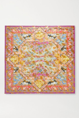 Etro Printed Metallic Fil Coupe Silk-blend Chiffon Scarf - Yellow