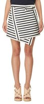 Carven Asymmetric Striped Mini Skirt, White/Blue