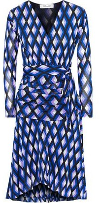 Diane von Furstenberg Rilynn Wrap-effect Printed Stretch-mesh Dress
