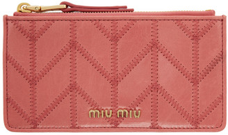 Miu Miu Pink Quilted Card Holder