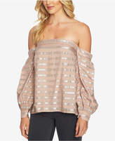1 STATE 1.state Metallic-Stripe Off-The-Shoulder Blouson-Sleeve Blouse