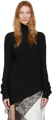 Marques Almeida Black Draped Turtleneck