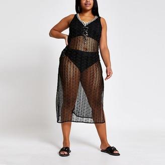 River Island Plus black zip-zag beach cover-up dress